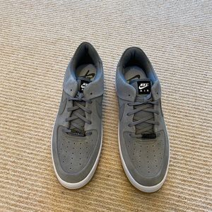 grey suede bike air force one shoes